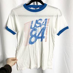 New daydreamer usa 84 S white ringer t shirt